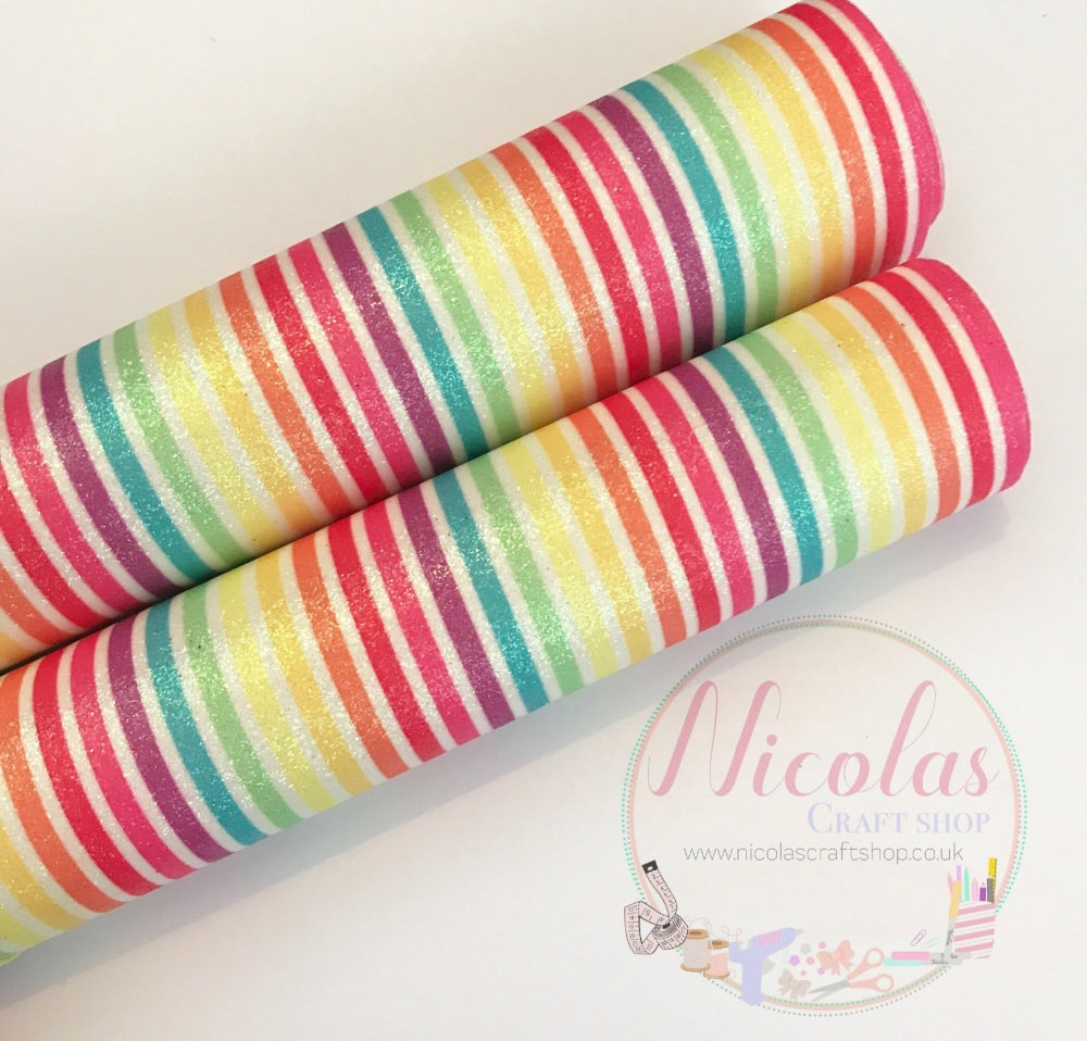 Vertical printed glitter stripe rainbow a4