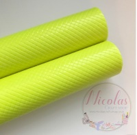 Glossy neon yellow patterned plain leather a4