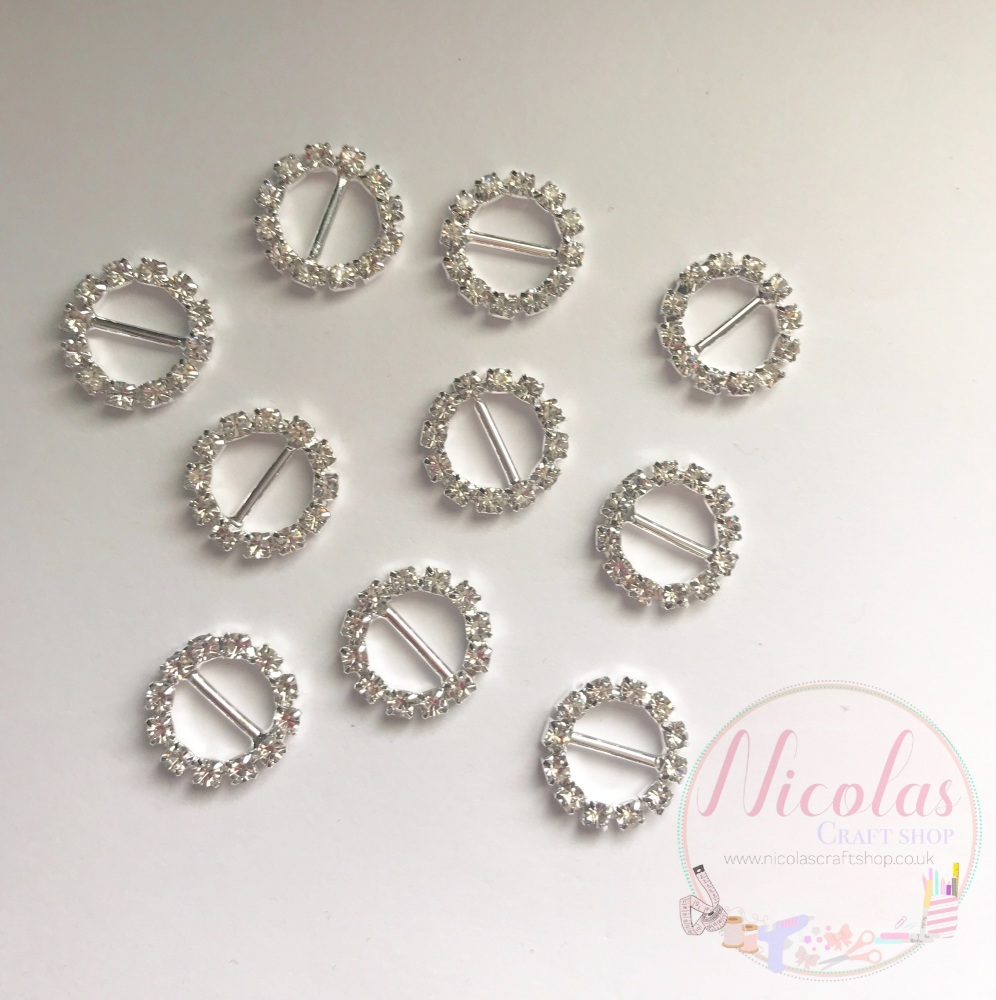 Rhinestone ribbon slider circle buckles 15mm