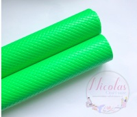 Glossy neon green patterned plain leather a4