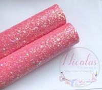 Rose pink a grade shape sequin chunky glitter