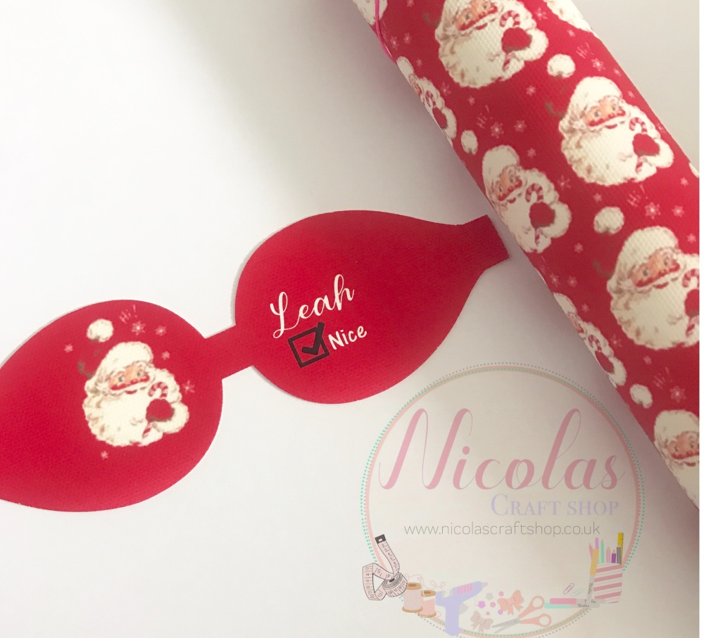 Red Santa nice list pre cut bow loop personalised