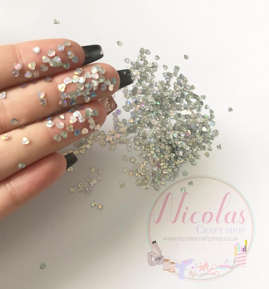 Silver sequin heart glitter sprinkles