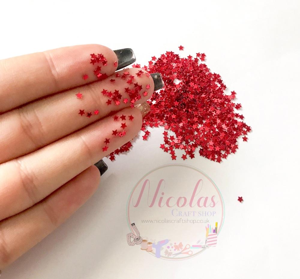 Bright red star night glitter confetti sprinkles