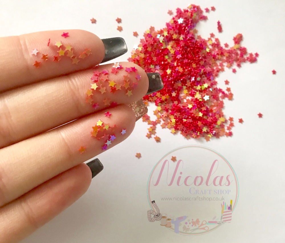 Red riding star night glitter confetti sprinkles