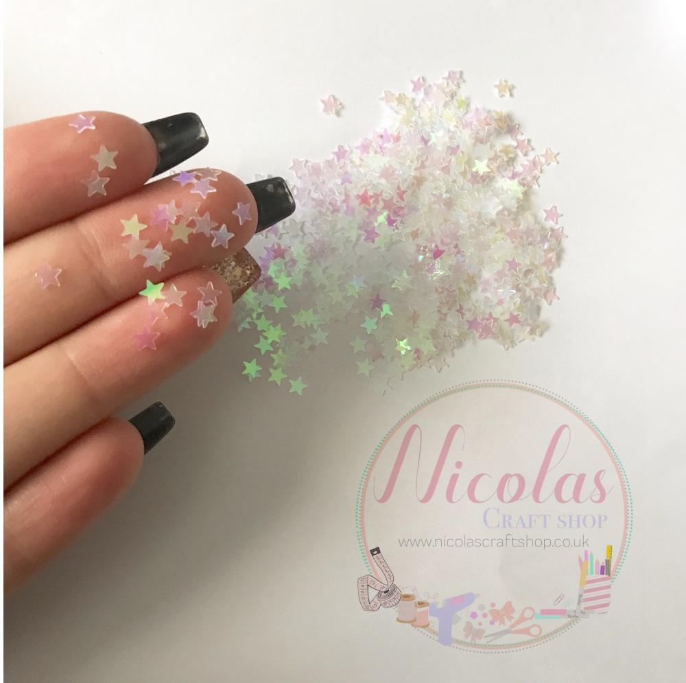 White pink dust star night glitter confetti sprinkles