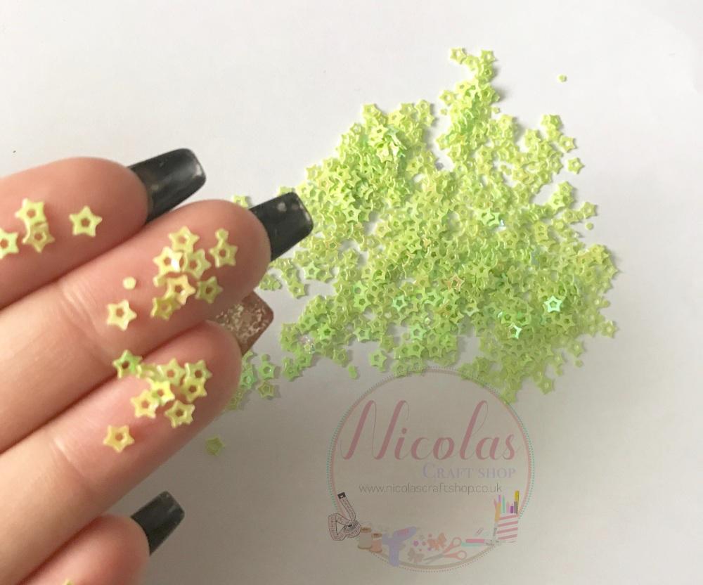 Lime green star night glitter confetti sprinkles