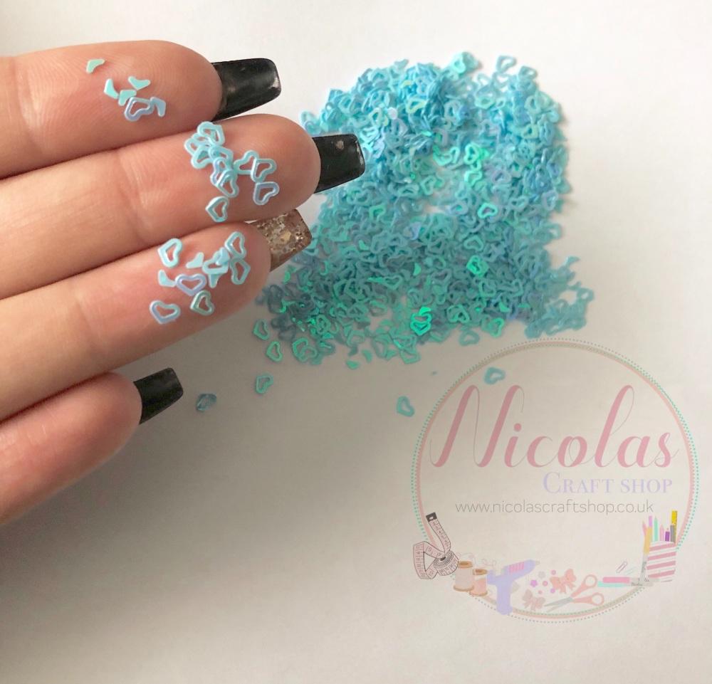 Blue heart glitter confetti sprinkles