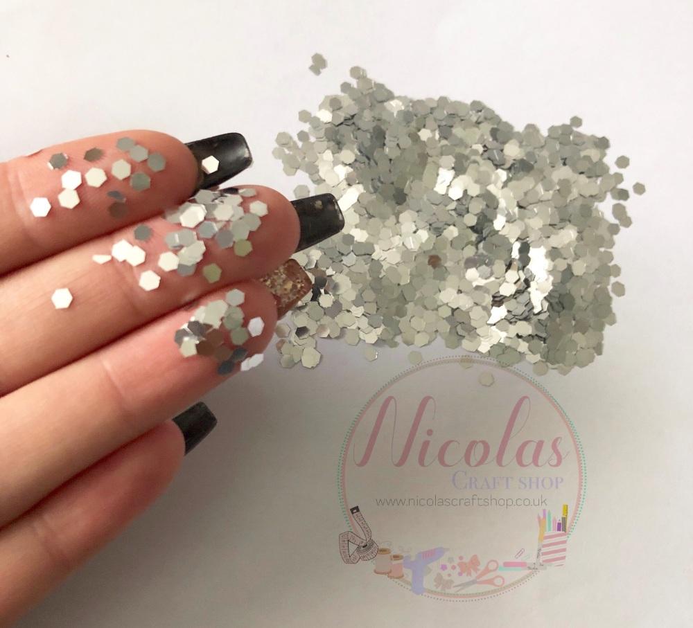 silver hexagon glitter confetti sprinkles