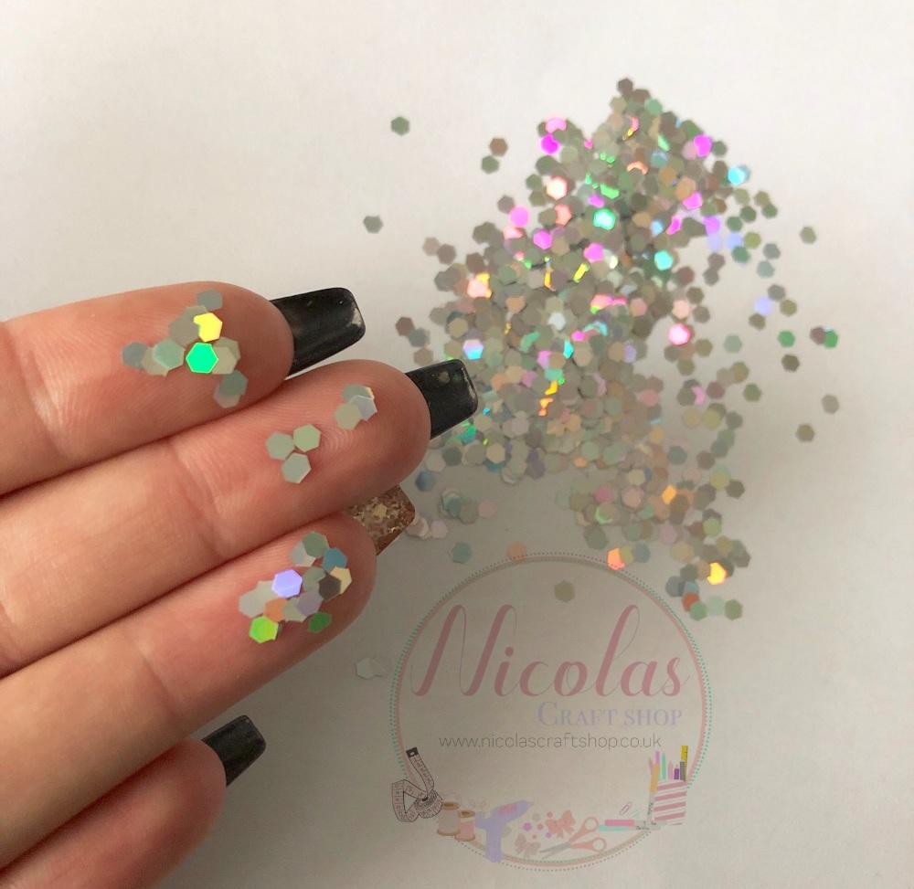 Super sparkly silver hexagon glitter confetti sprinkles
