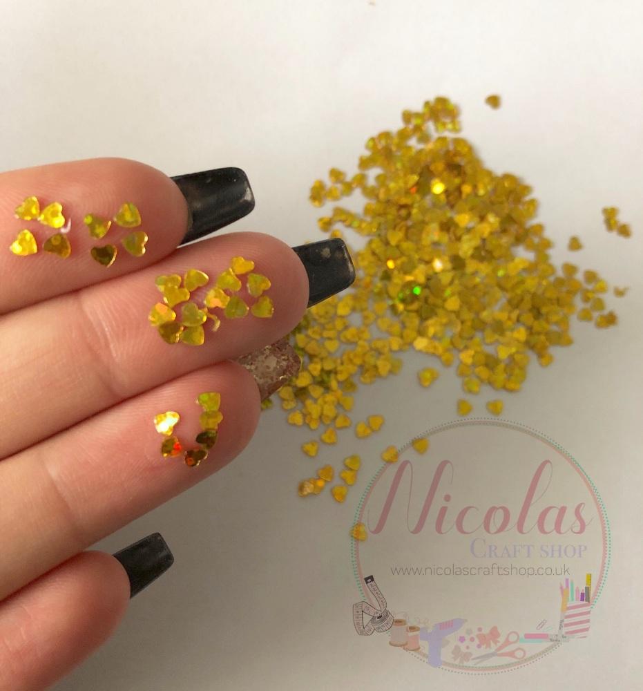 Gold sequin heart glitter sprinkles
