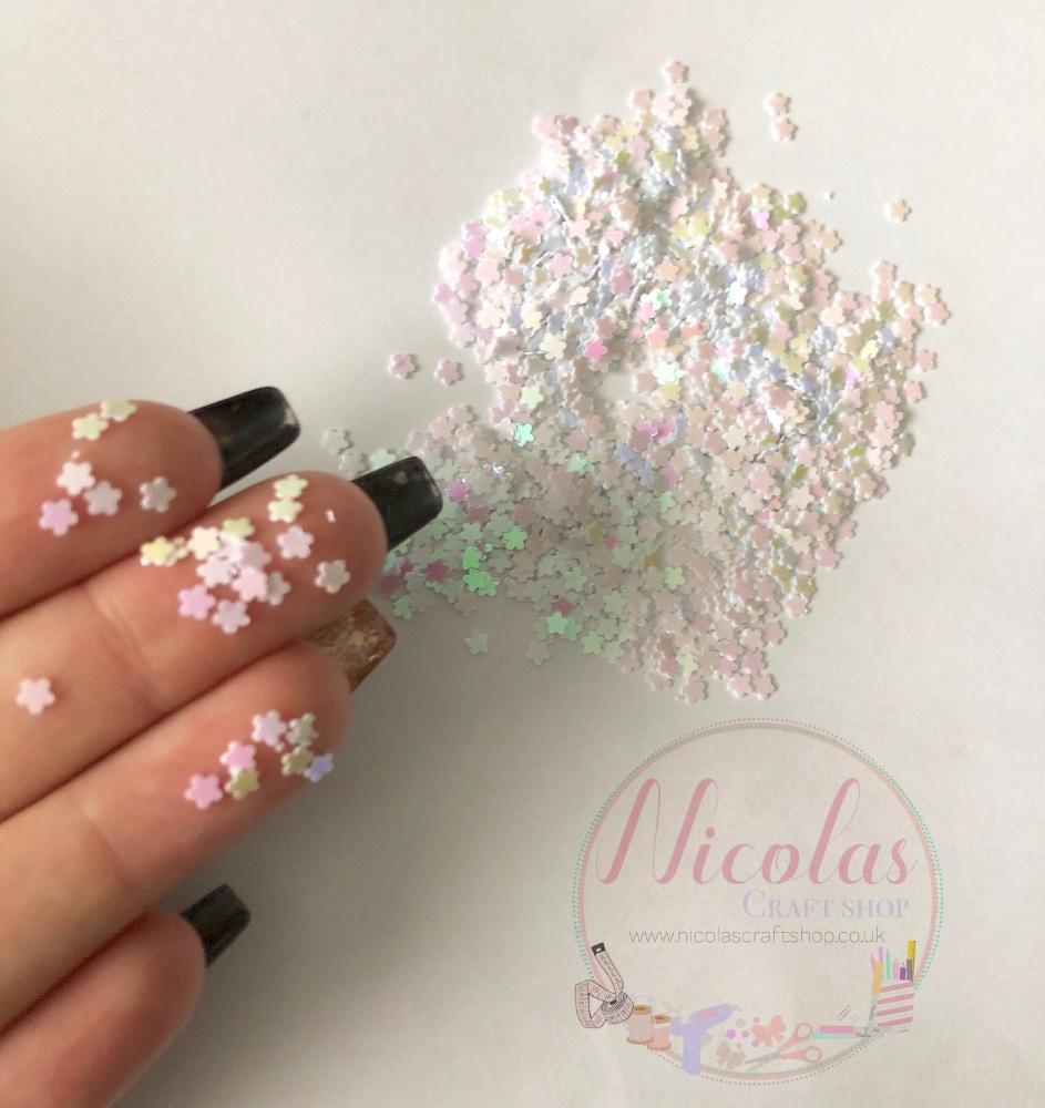 White pink dust flower glitter confetti sprinkles