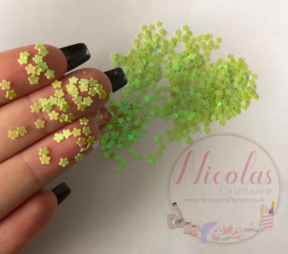 Lime green flower glitter confetti sprinkles