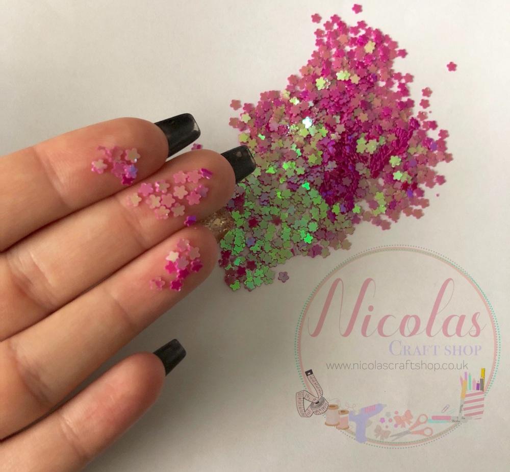 Hot pink flower glitter confetti sprinkles