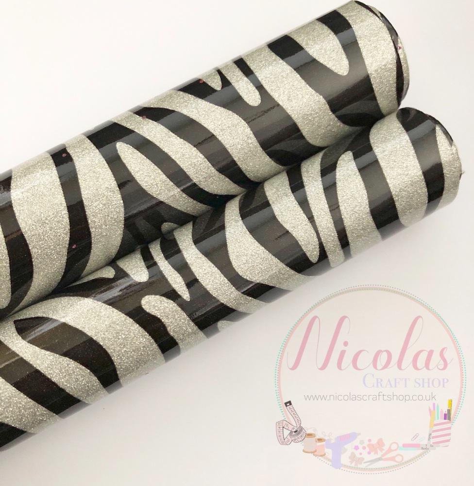 High Gloss silver zebra print glitter a4