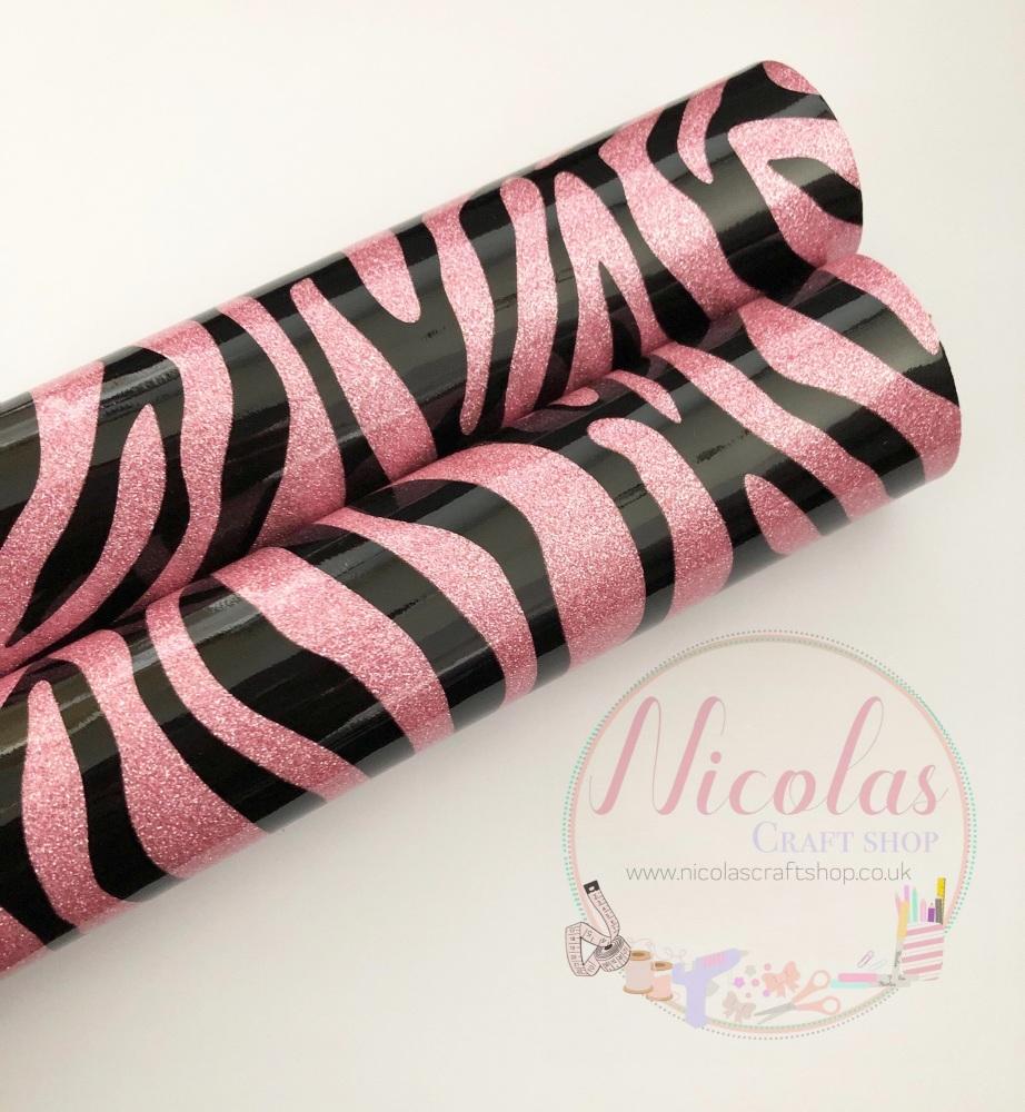High Gloss pink leopard print glitter a4