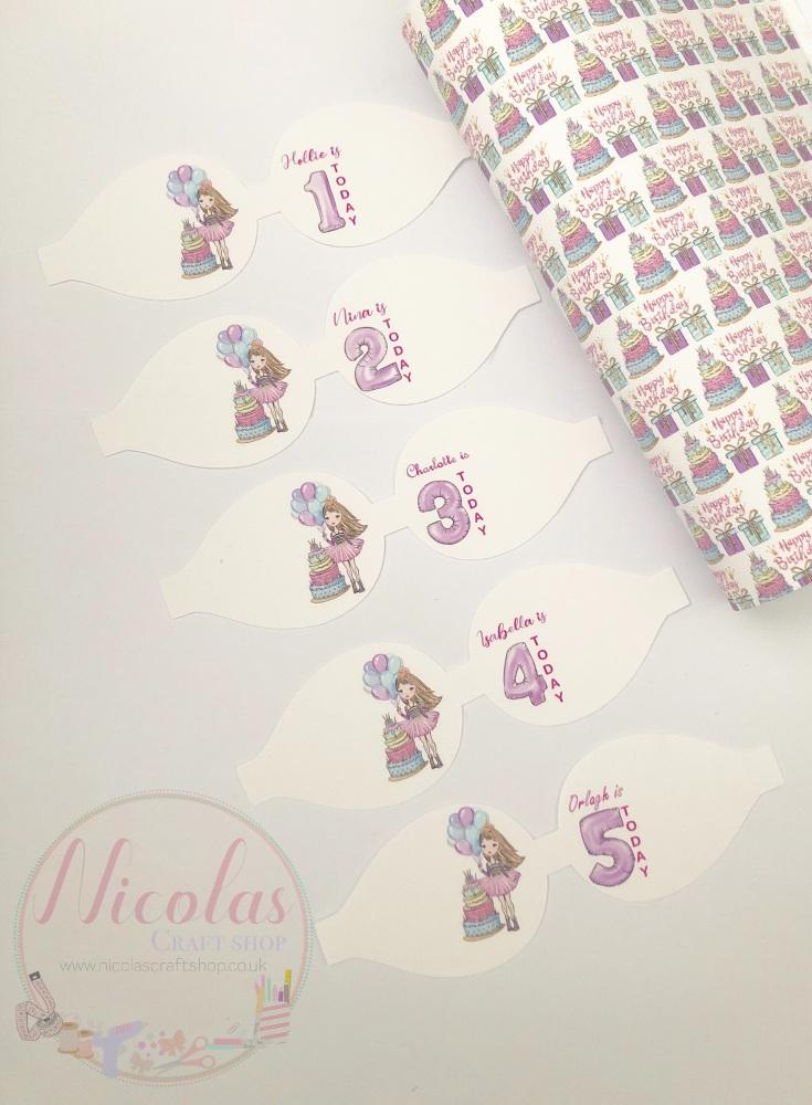Birthday girl pre cut bow loop personalised