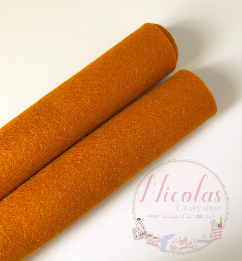 Amber orange 100% Wool Felt 1mm