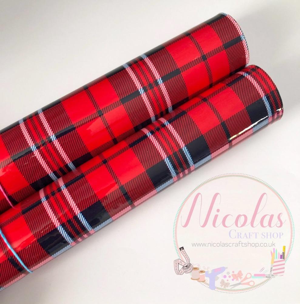 Red tartan gloss vinyl leather a4