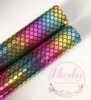Rainbow mermaid scale printed leather fabric a4