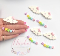 Star Pastel rainbow rain drop cloud polymer clay