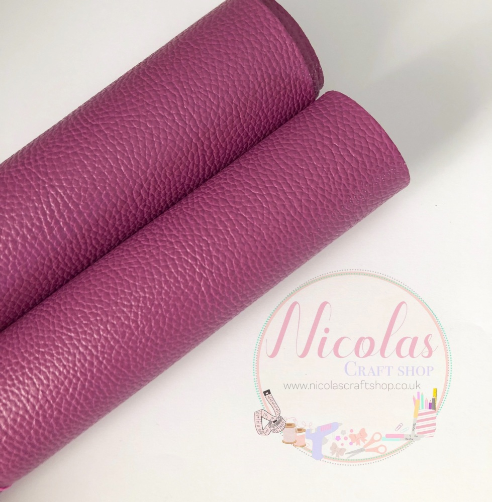Litchi purple plain leather a4