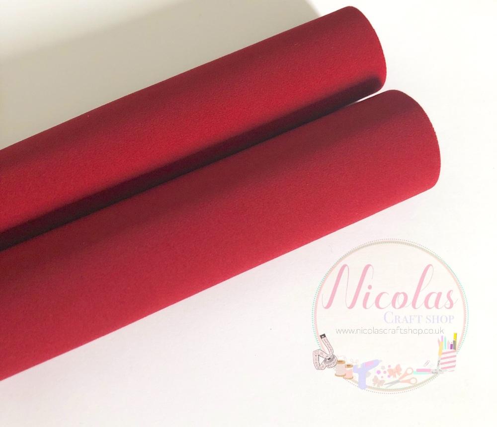 Double sided dark red velvet sheet