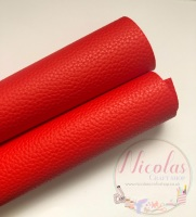 Litchi red plain leather a4