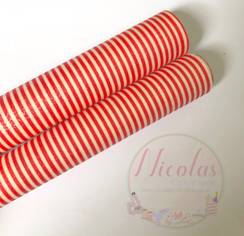 Red and white stripe candy cane inspired printed fine glitter