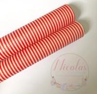 Red & White Stripe Fine Glitter Fabric