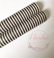 Black & White Stripe Printed Fine Glitter Fabric