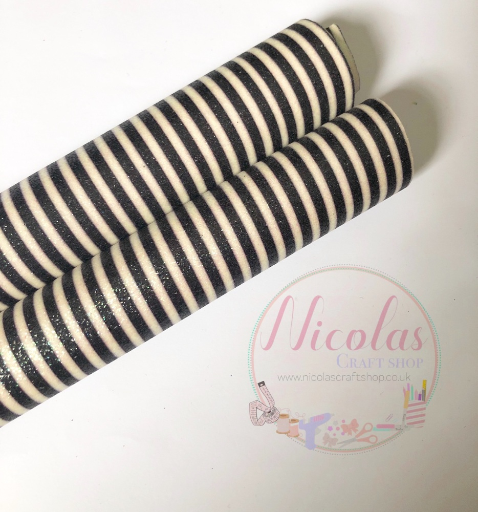Black and white stripe printed fine glitter