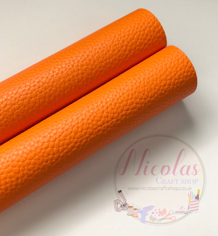 Litchi neon orange Plain leather a4