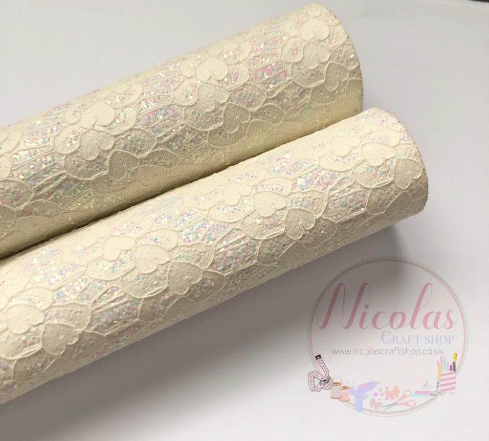 White lace chunky glitter fabric