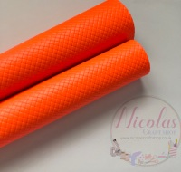 Glossy NEON  orange patterned plain leather a4