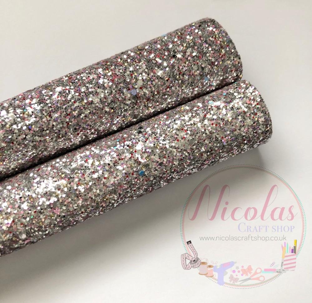 Silver pearl chunky glitter a4