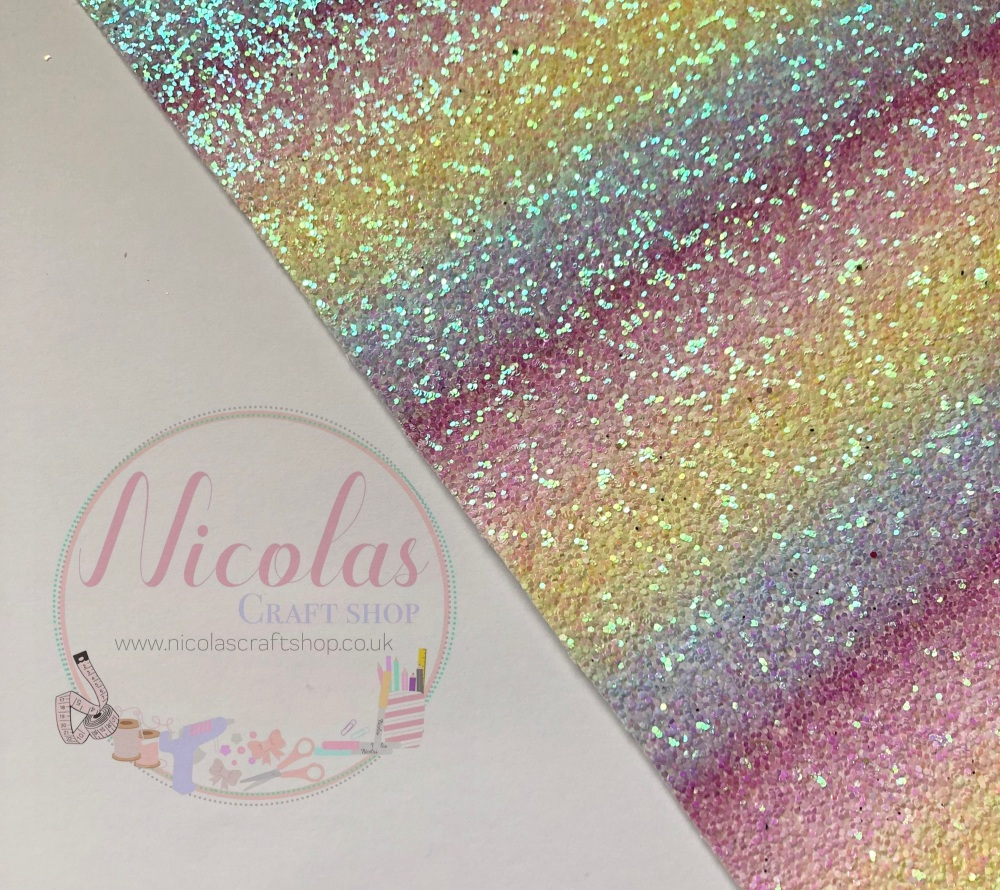 Frosted ombre pink yellow purple chunky glitter