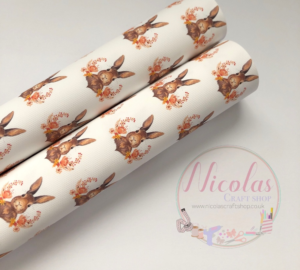 1013 - Autumn floral bunny rabbit printed canvas sheet