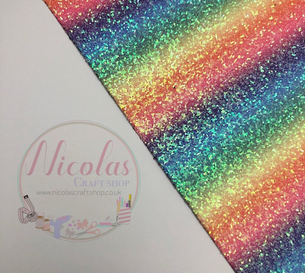 Frosted ombre colours of the rainbow chunky glitter fabric