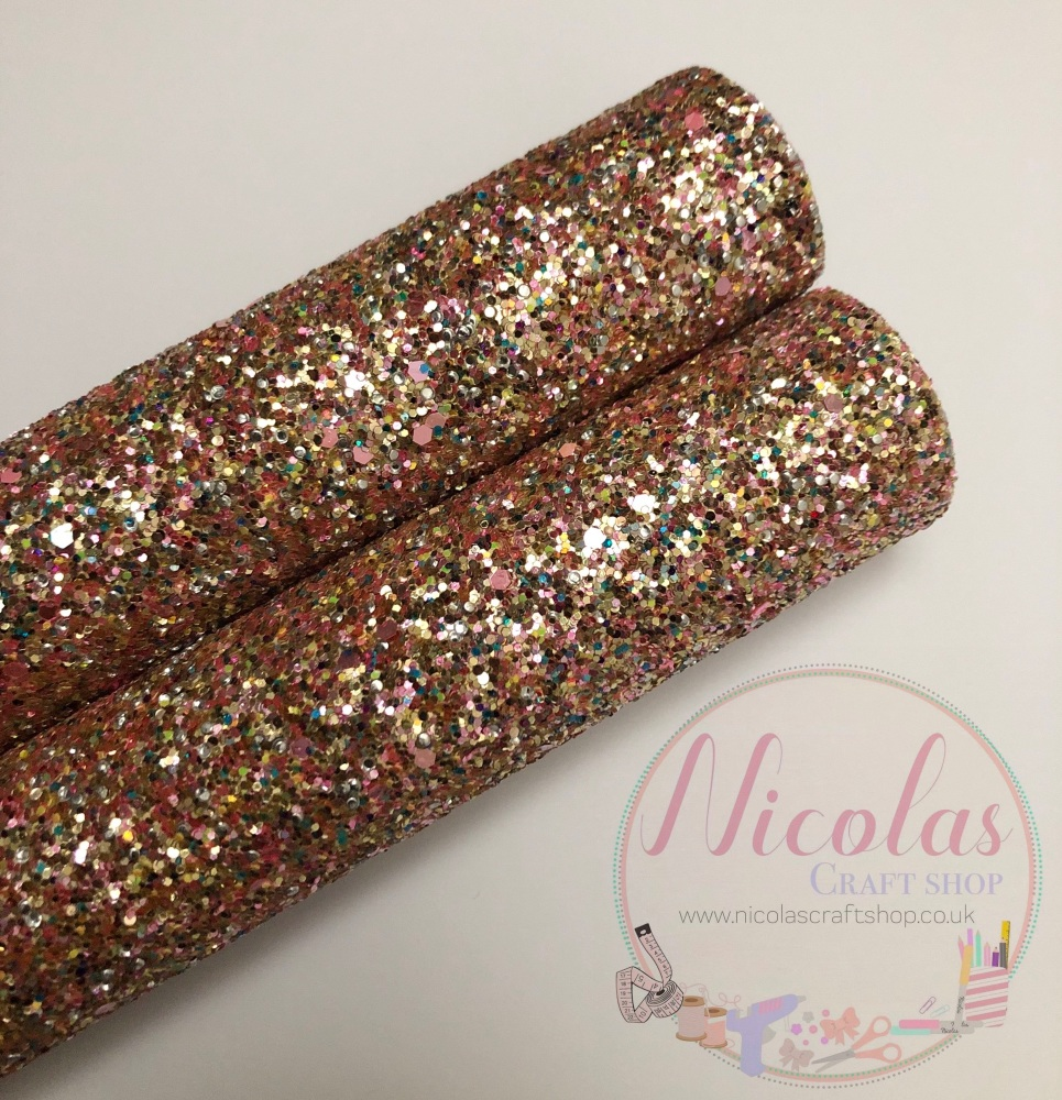 A hint of candy chunky glitter fabric