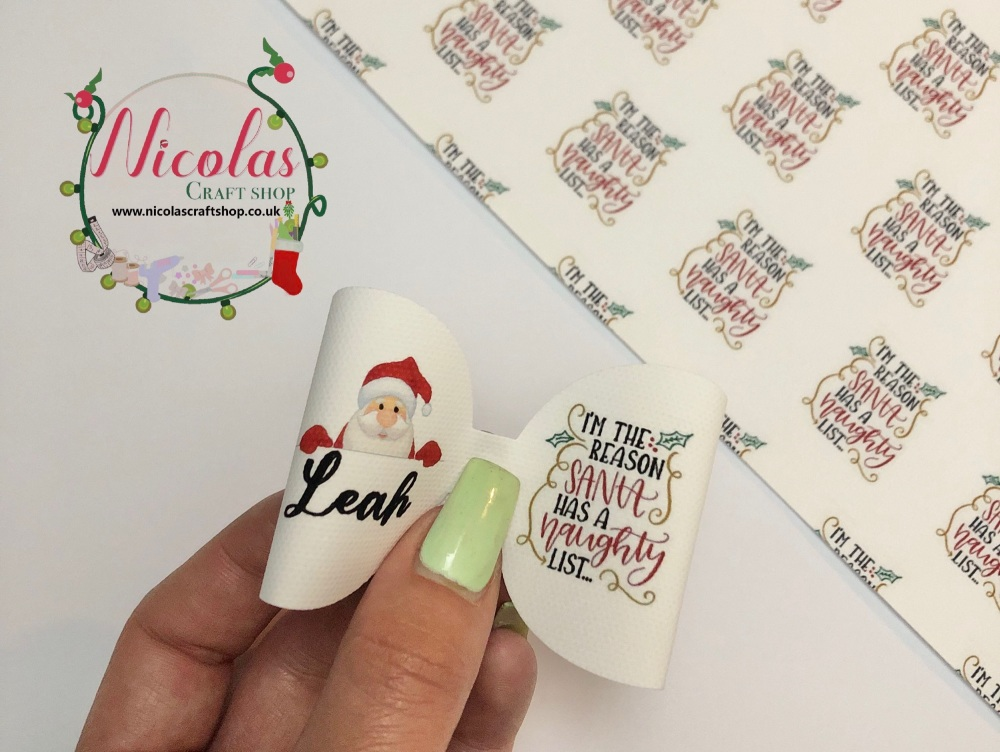 I'm the reason there's a naughty list PERSONALISED bow loop