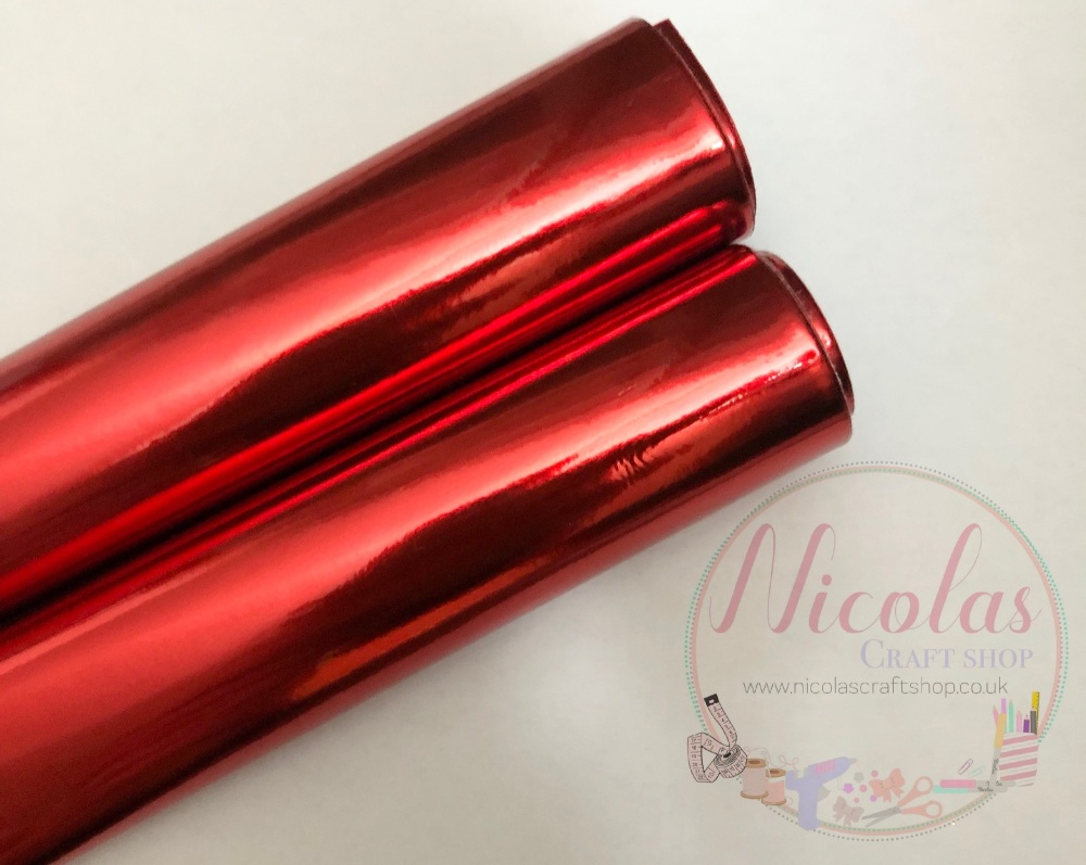 METALLIC red irredescent leatherette