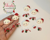 The mini red xmas cloud polymer clay