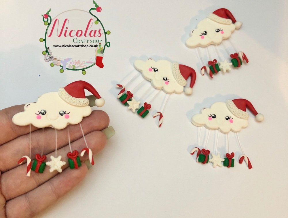 Christmas hat santa inspired cloud polymer clay