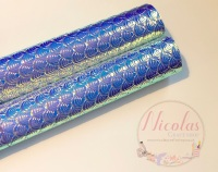 IRREDESCENT - sea shell mermaid printed leather fabric a4