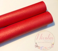 Pearlescent Red plain leatherette sheet