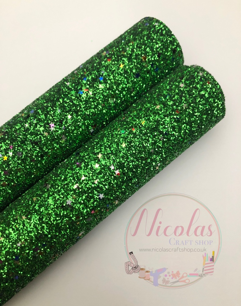 Green multi star sequins fine glitter sheet