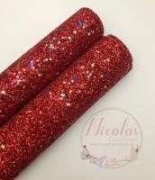 Red Multi Star Sequins Fine Glitter Fabric
