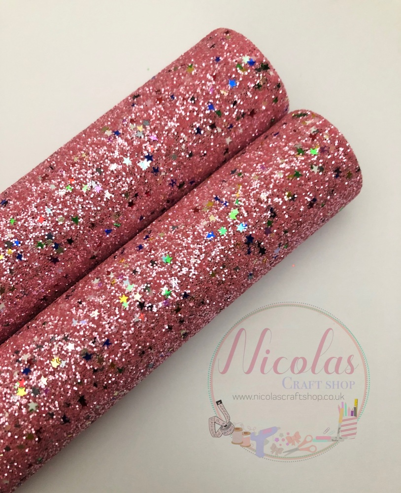 Pink multi star sequins fine glitter sheet