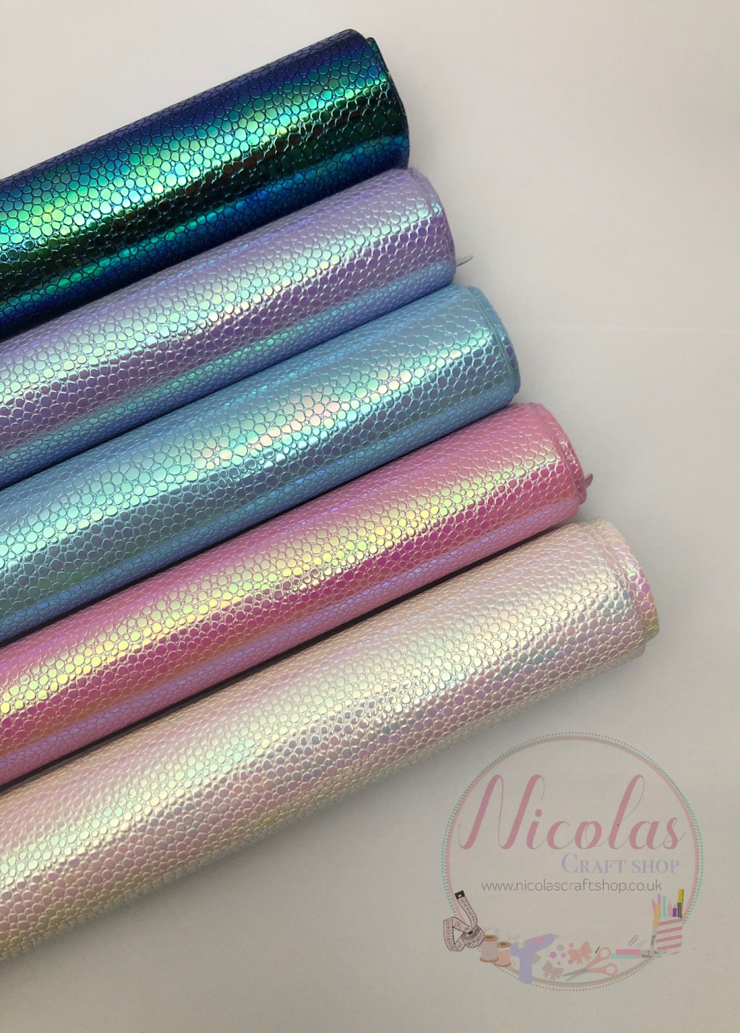 The colour run collection irredescent scale fabric